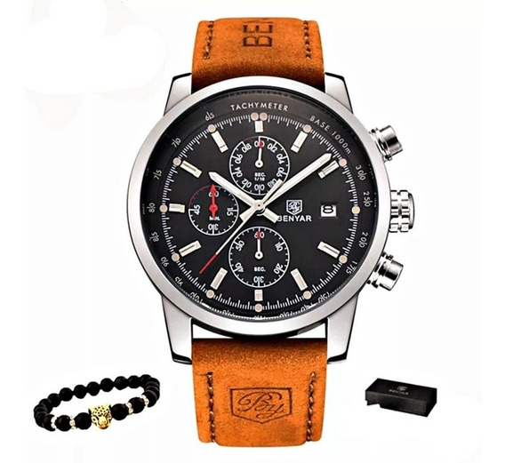 Relógio Prata Pulseira Couro Marrom Masculino Aço Inox