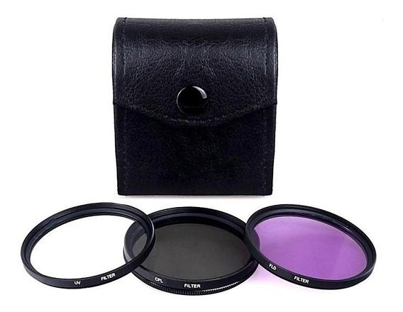 Kit Filtro Uv Cpl Fld De 58mm Lente Nikon Sony Canon Fuji