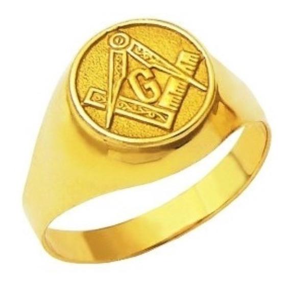 Anel Maçon Redondo Dedinho Forrado Ouro 18k 5.50gr 22251