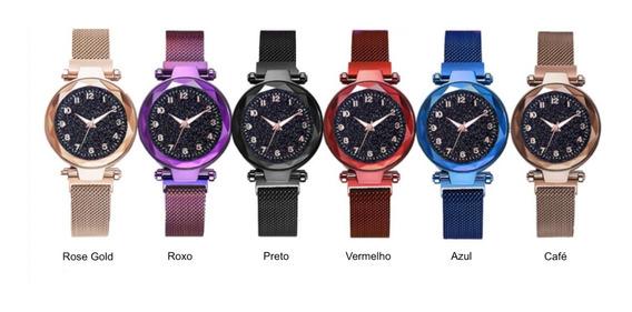 Kit 2 Relógios Feminino Céu Estrelado Pulseira Magnética