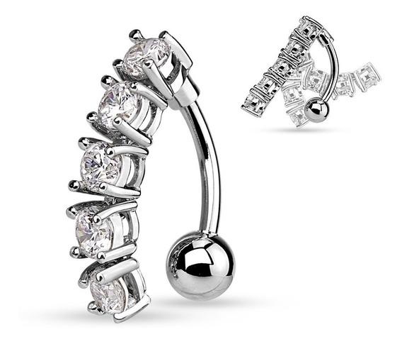Piercing Para El Ombligo Zirconia Silver
