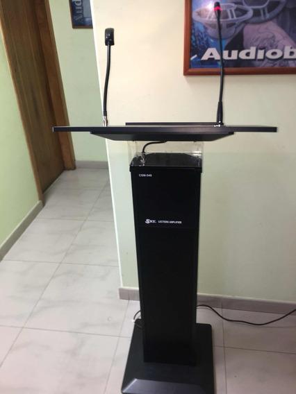 Podiun O Mesa Para Conferencia Amplificado Con Microfono