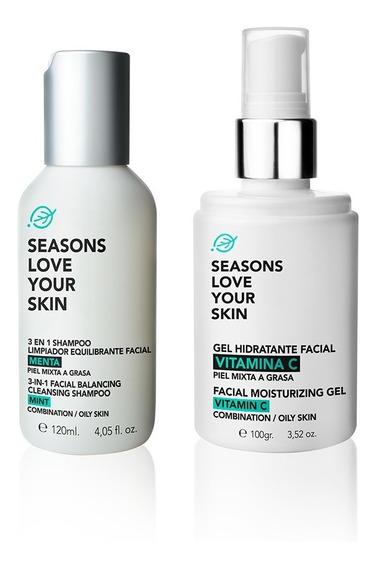 Shampoo Limpiador Equilibrante + Gel Hidratante Facial Vit.c