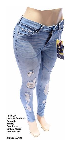 Calça Jeans Sawary Tamanho 36 Rasgada Com Lycra - 250402