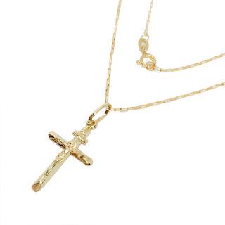 Corrente Italiana De 60cm Pingente Crucifixo Joia Ouro 18k