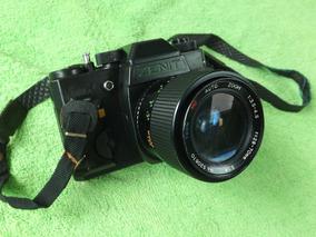 Antiga Câmera Máquina Fotográfica Zenit Com Lente Tron