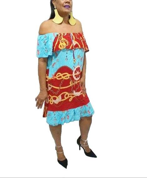 Vestido Roupas Femininas Ombro A Ombro Ciganinha Plus Size