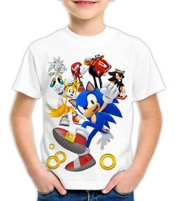 Camiseta Infantil Ou Adulto - Sonic - 2 A 14 Anos