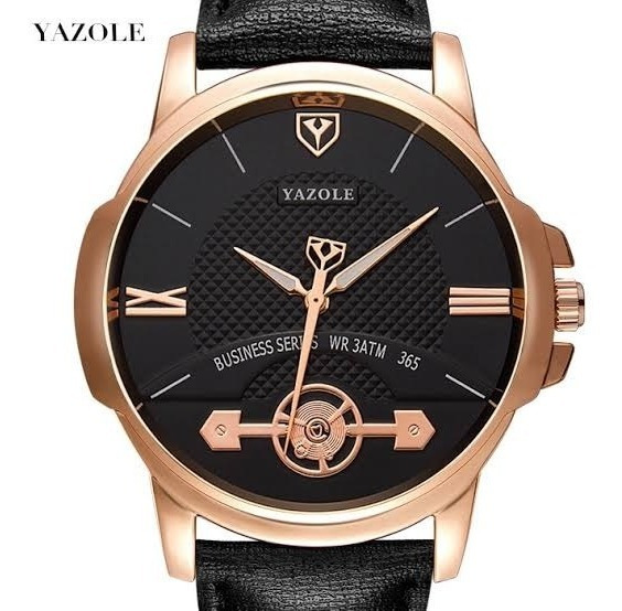 Relógio Masculino Yazole® 365 Couro Brinde Caixa