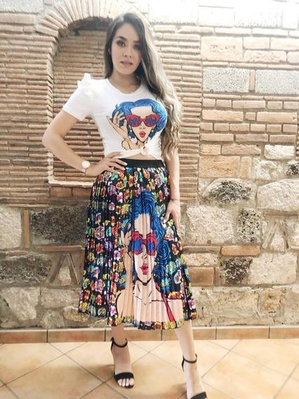Conjunto Falda De Moda Satin Y Blusa Con Olanes