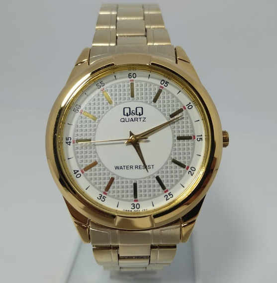 Relógio Q&q By Citizen Dourado Fundo Branco Q866-001y
