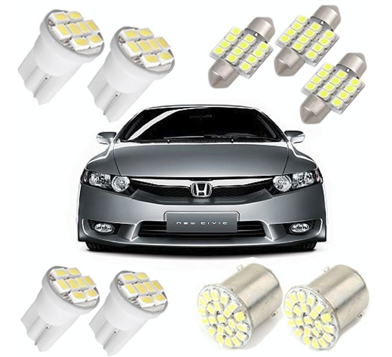 Kit Civic 2006 2007 2008 2009 2010 2011 Led Pingo Teto Placa