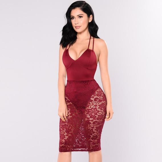 Sexy Women Lace Strappy Back Midi Dress Deep V Neck Bodysuit