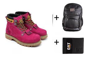 Bota Coturno Botina Carterpillar+mochila+carteira Promoção