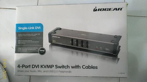 Switch 4 Puertos Dvi Kvmp Teclado Video Mouse Usb Iogear