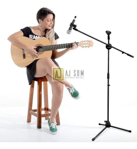 Pedestal Reto/girafa,suporte Duplo P/microfone Studio/palco
