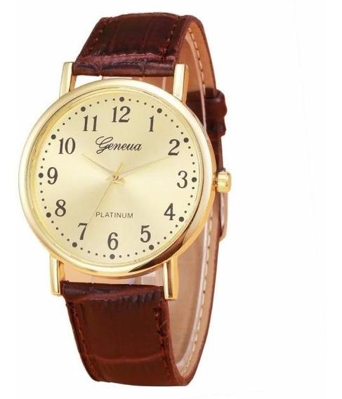 Relógio Dourado Geneva Feminino Pulseira Marron Rg013f