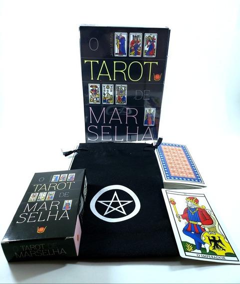 Tarô De Marselha Livro Baralho 78 Cartas Brinde Estojo Tarot