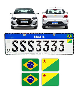 Adesivos 4 Bandeiras Placa Mercosul Carro Brasil Estados