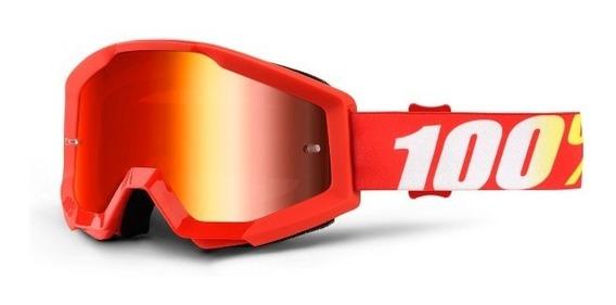 Antiparras 100% Espejadas Strata Furnace Rojas Motocross Atv