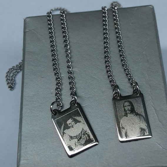 Escapulário Em Aço Personalizado Jesus E Santa Irmã Dulce