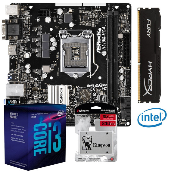 Kit Gamer Intel I3 8100 H310m Hyperx Fury Ddr4 8gb Ssd 240