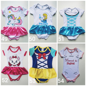 Kit 10 Peças Body Infantil Princesas Menina Tudo G