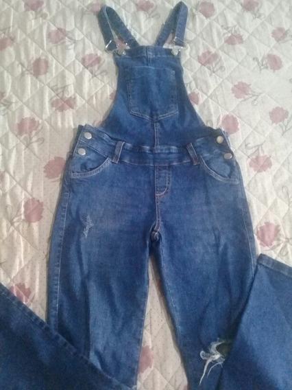 Jardineira Feminina Jeans Com Lycra Tam 36