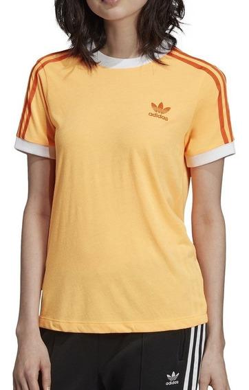 adidas Remera 3 Stripes Tee W Naranja - Corner Deportes