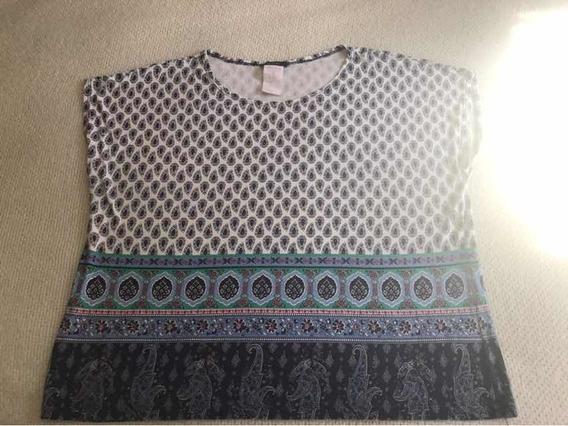 Blusa Estampado Tons Azuis Sapporo Xg Sem Manga