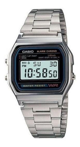 Relógio Casio Unisex A158 Vintage Retro Prata A158wa-1df