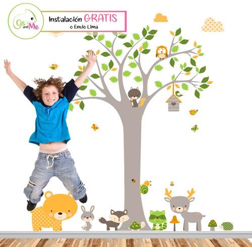 Vinilos Decorativos Infantiles Arbol Unisex Animales Bebe