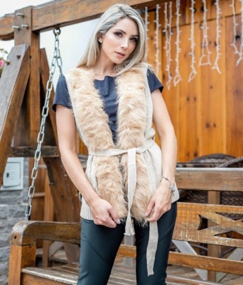 Blusa De Frio Colete De Lã Feminina Com Pelos Sintetico Moda