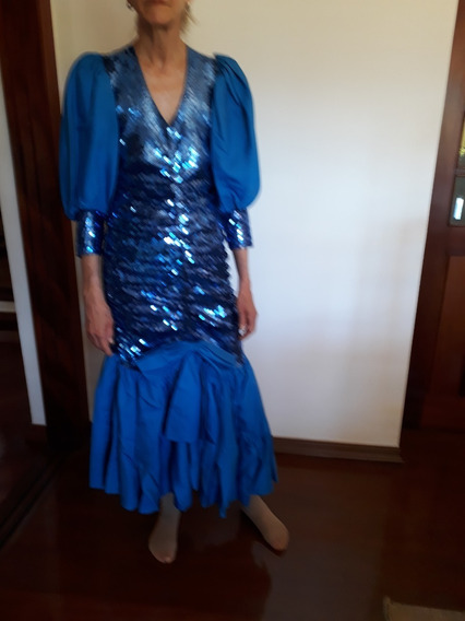 Vestido De Festa Longo Em Tafetá Seda C/paetês Tamanho Médio