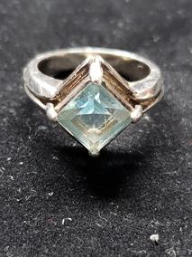 Anel Em Prata Pedra Azul Celeste Topazio Aro 17