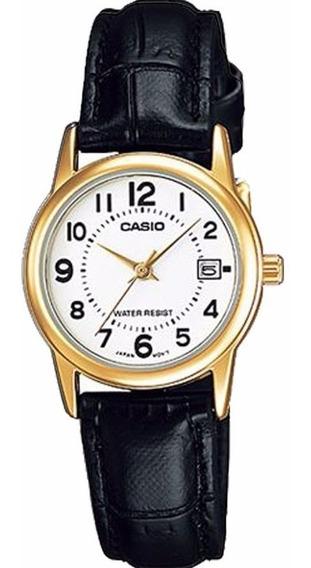 Relógio Casio Feminino Ltp-v002gl 7bu Dourado Couro Preto