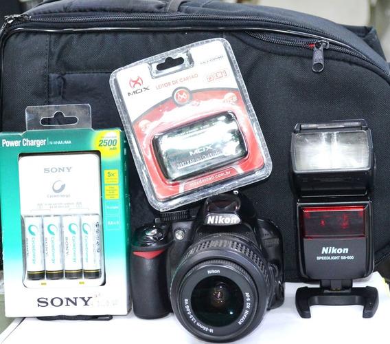 Camera Nikon D3100+sb600+carregadorsony+leitor+mochila