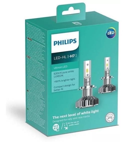Kit Lampada Led H7 Philips Ultinon 12v 6200k 160% + Luz