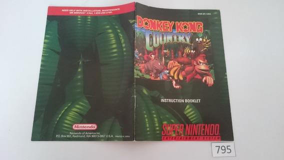 Manual Donkey Kong Country (snes) Original Frete $5 [0795]