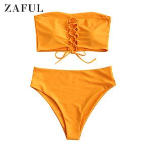 Zaful Conjunto De Biquíni De Cintura Alta De Cordões