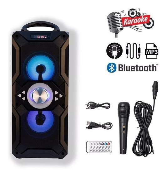 Caixa De Som Portátil Bluetooth Amplificada Com Microfone Fm