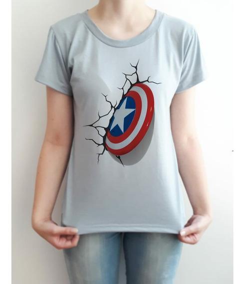 Camiseta Capitão America Feminino Ou Masculino