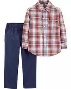 Conjunto Carters Bebe Camisa Xadrex Calça Sarja Azul Marinho
