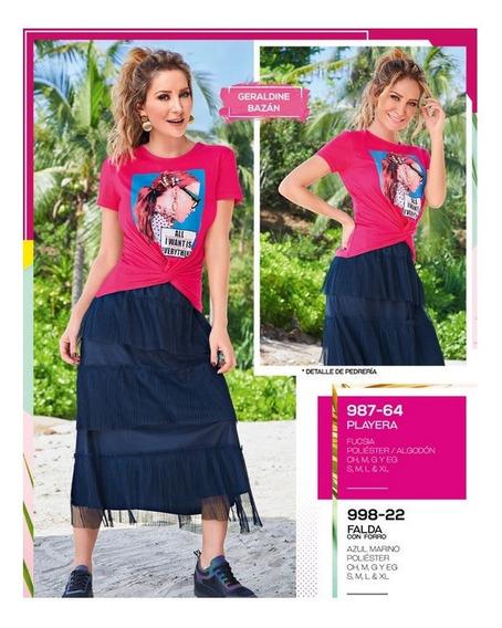 Falda Casual Dama Azul Marino 998-22 Cklass 1-20 J