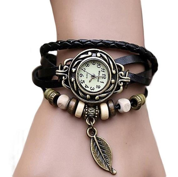 Relógio Feminino Com Pulseira De Couro E Bijuteria Pulseira