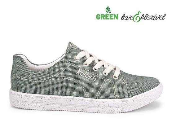 Tênis Casual Sportstyle Tecido Kolosh Verde C1638 (novo&nf)