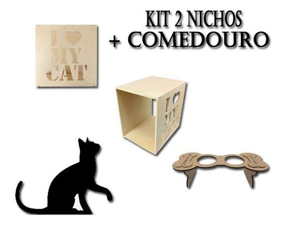 Kit 2 Nichos Casinha De Gato E 1 Comedouro Em Mdf Cru 0843i