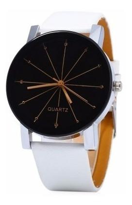 Relógio Luxo Quartzo Branco Couro Sint Unisex 40mm Ad1109