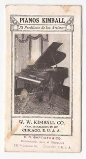 1920´s Pianos Kimball Publicidad Antiguo New York Usa