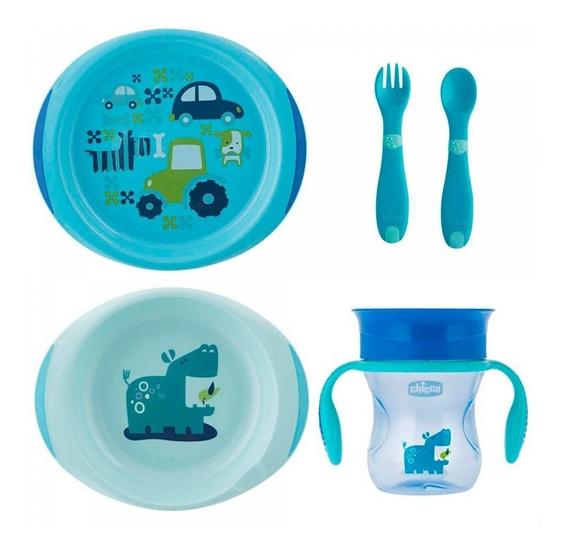 Kit Papa Para Bebê Prato Talher Copo 12m+ Azul Menino Chicco